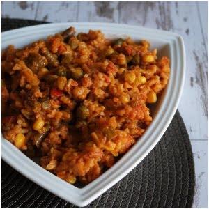 vegetarisk tikka med ris